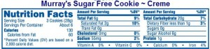 Sugar Free Cookie Food Label