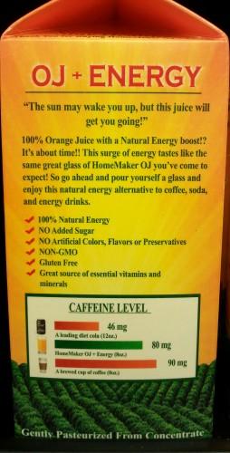 HomeMaker Premium OJ+Energy Caffeine content